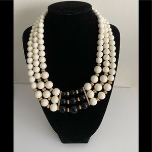 Vintage statement necklace black and white beads